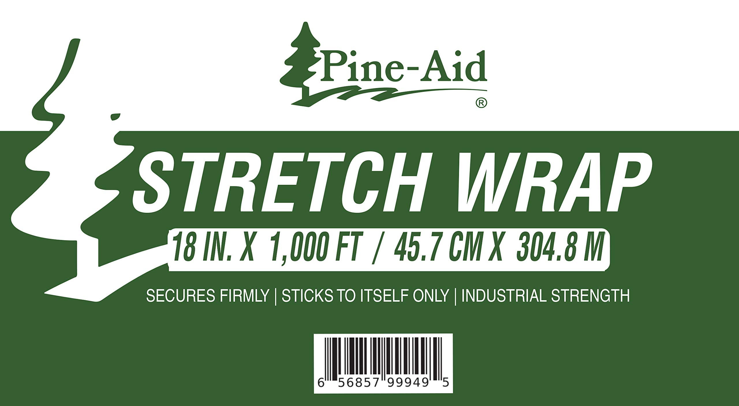 Stretch Wrap - 18'' X 1000 Sq Ft X 80 Gauge (20 Microns) Industrial Strength Thick & Most Durable, Self-Adhesive Film - Cling/Shrink/Pallet Wrap Best for Packing and Moving (4) by Pine-Aid (Image #2)