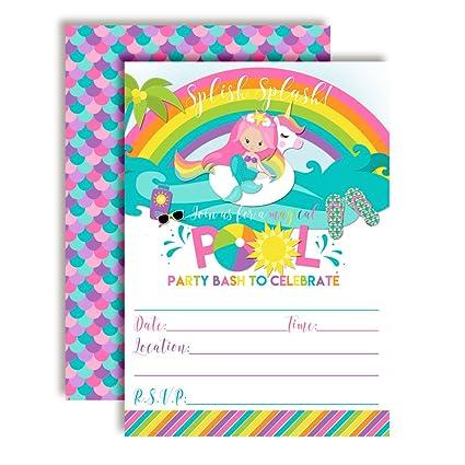 Pink Mermaid Unicorn Rainbow Pool Party Birthday Invitations Ten 5quotx7quot Fill