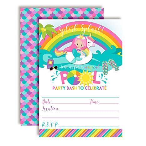 Pink Mermaid Unicorn Rainbow Pool Party Birthday Invitations 20 5x7 Fill In Cards With Twenty White Envelopes By AmandaCreation