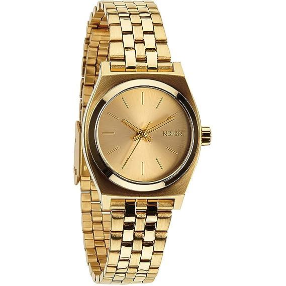 Nixon Small Time Teller - Reloj de cuarzo para mujer, correa de acero inoxidable color dorado: Nixon: Amazon.es: Relojes