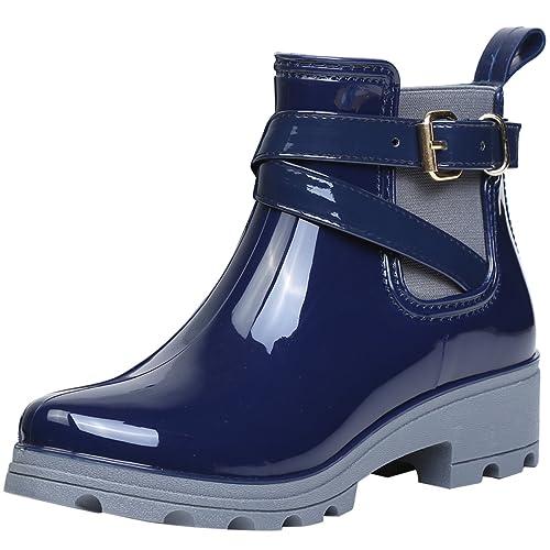 replicas estilo clásico linda Botas de Agua Bota de Goma Mujer Impermeable lluvia Zapatos Tobillo Casual  Calzado