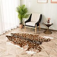 Faux Cowhide Area Rug, Sika Deer Print Hide Rug Faux Fur Animals Mat Carpet for Home,Livingroom (3.3x3ft)