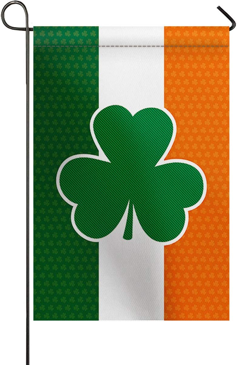 Small Premium Garden Flag Vertical Double Sided St. Patrick's Day Decorative Garden Flags Irish Flag Tricolor Printed BURLAP Yard Outdoor Decor - Weather Resistant & Double Stitched - 12 x 18 Inch