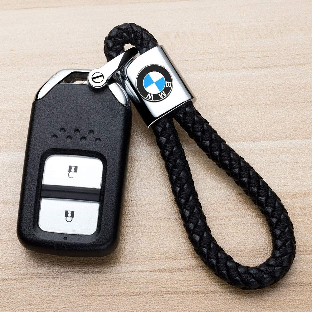 M Key Chain Keyring Family Present for Man and Woman,Black and Red HEY KAULOR 2Pack Genuine Leather Car Logo Keychain Suit for BMW 1 3 5 6 Series X5 X6 Z4 X1 X3 X7 7 Series