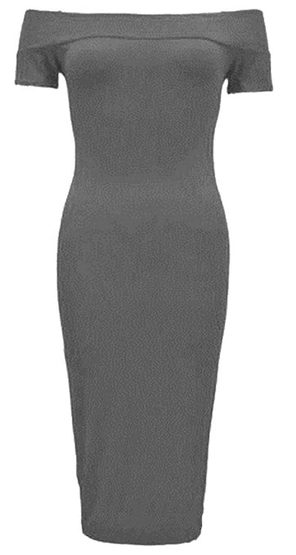 GirlzWalk @ Women Off Shoulder Bodycon Midi Dress Plus Size