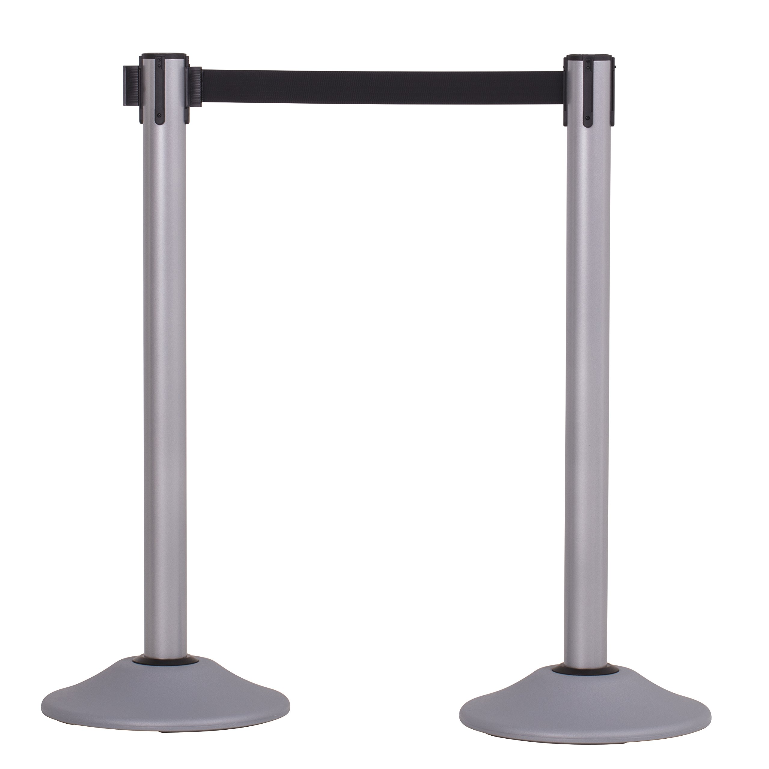 US Weight Heavy Duty Premium Steel Stanchion with Extended 13-Foot Retractable Belt – Silver