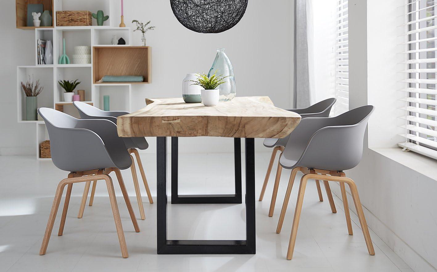 Damiware Romeo Wohnzimmerstuhl Esszimmerstuhl 2er Set Grau Polypropylen und Buchenholz Retro Design Stuhl für Büro Lounge Küche Wohnzimmergrey (Grau)
