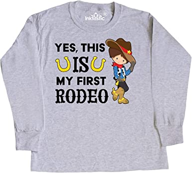 Cowgirl in Toddler Long Sleeve T-Shirt This is My First Rodeo inktastic Yes