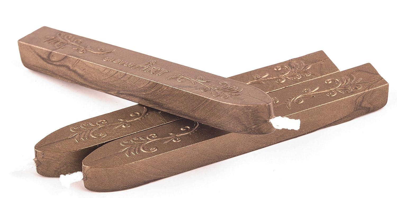 Cera per sigillo con stoppino flessibile colore bronzo 3 bastoncini