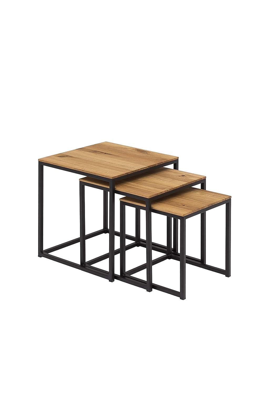Woodlive Massivholz Couchtisch 3er Set Wildeiche Beistelltisch Holz Metallgestell Wohnzimmertisch 40 x 40 schwarz …