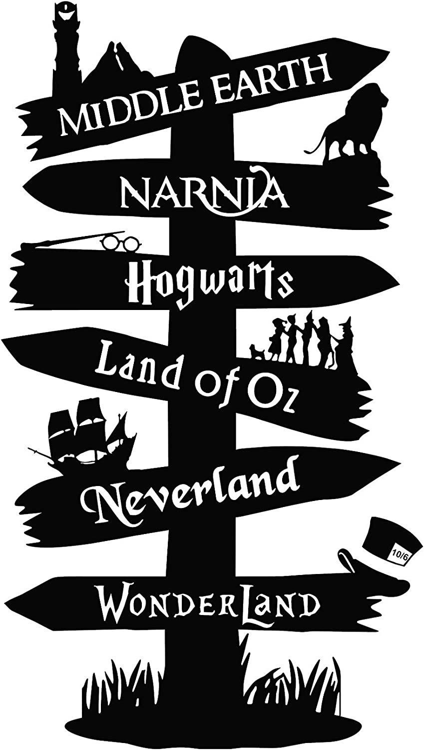 """Storybook Peter pan Narnia Alice Road Sign Vinyl Sticker Home Movie Decor (22"""" W X 39"""" T)"""