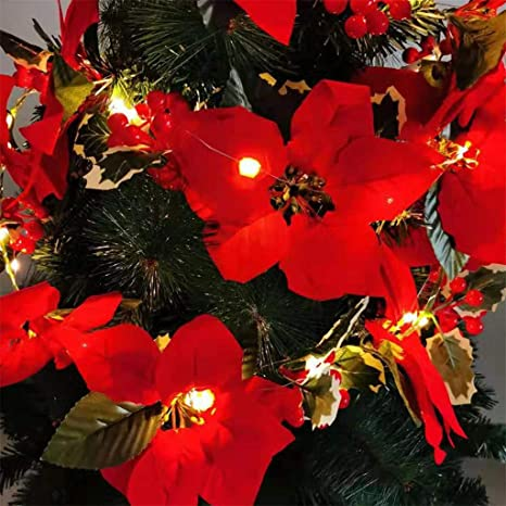 Amazon Com Poinsettia Led String Lights 6 5ft Copper Wire Fairy Lights Home Decor Indoor Outdoor Patio Garden Yard Wedding Party Christmas Home Improvement
