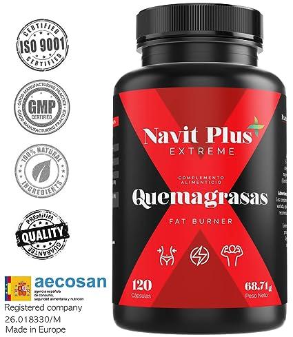 Quemagrasas potente para adelgazar.Suplemento deportivo para adelgazar Fat Burner de Navit Plus EXTREME. Termogénico potente, quema grasas natural. ...
