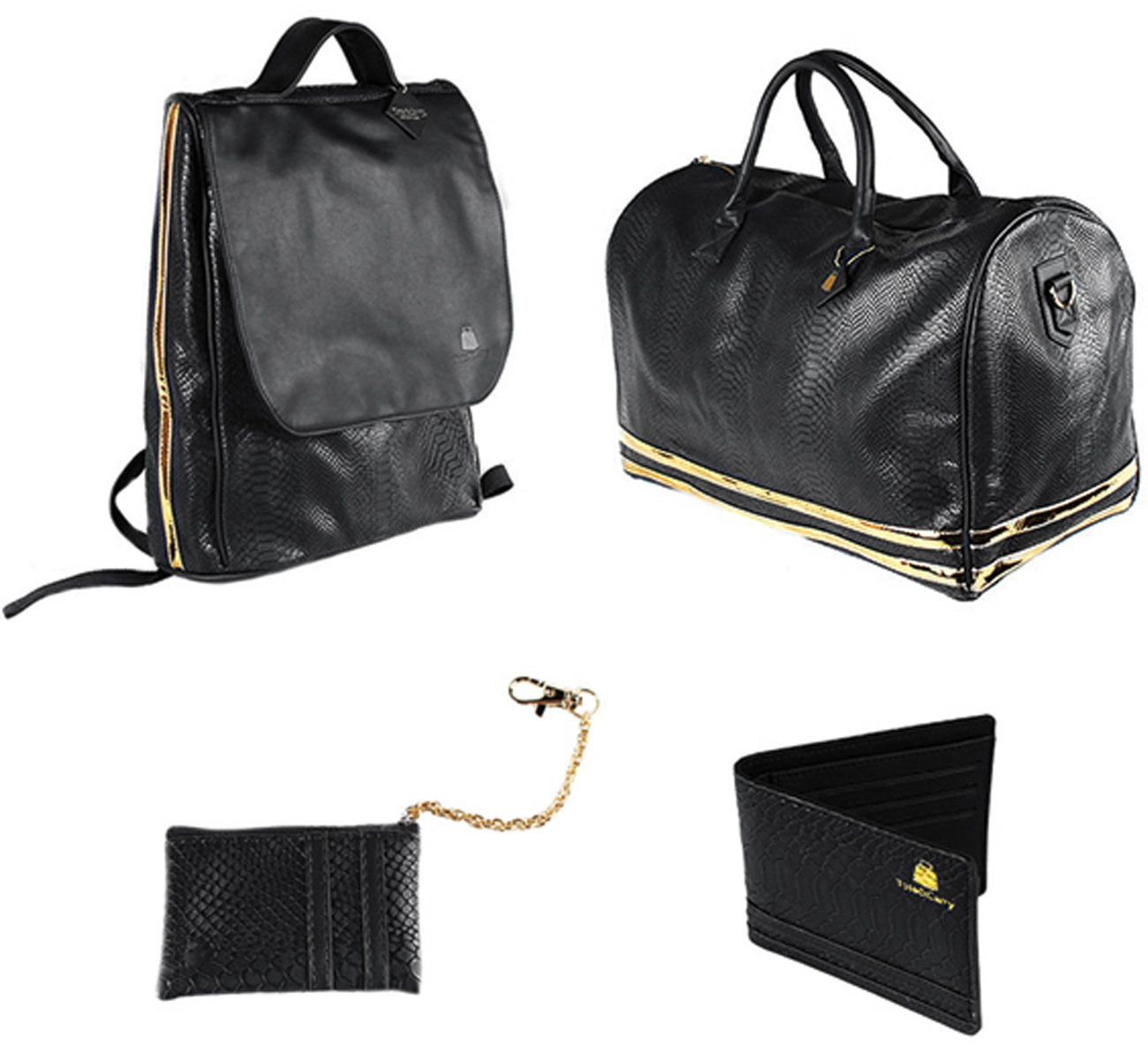 4 Pcs Luxury Duffle Bag Backpack Coin Purse Wallet Set Snake Grain Vegan Leather / Patent (Black/Gold)