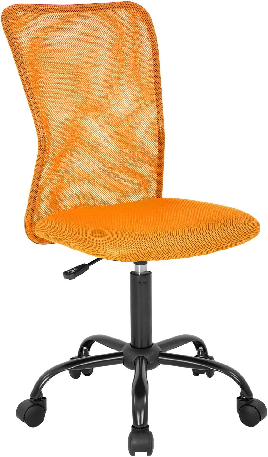 Office Chair Mesh Desk Chair Ergonomic Computer Chair with Lumbar Support Adjustable Swivel Rolling Task Chair for Men(Orange)