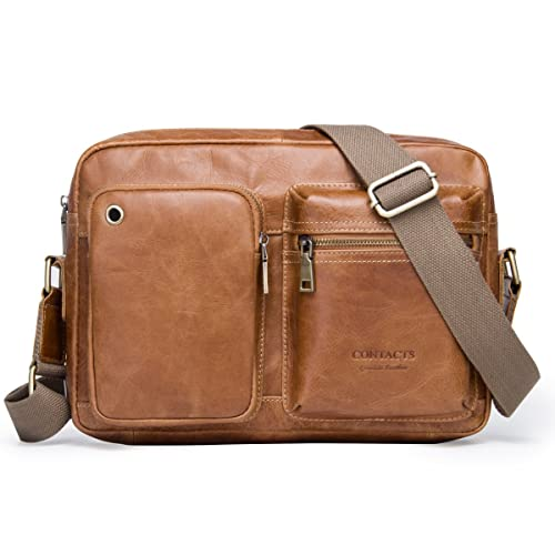 Contacts Real Leather Travel Men Crossbody Messenger Shoulder Bag Office  iPad Briefcase (Brown) 5bc13aad94
