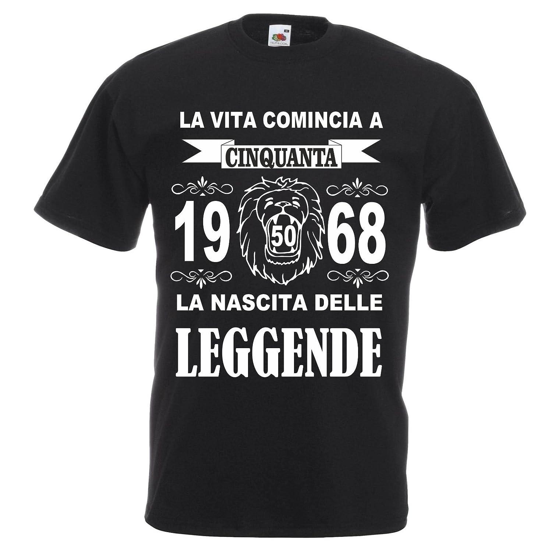 pazza idea T-shirt uomo donna la vita comincia 50 anni 1968 leggende compleanno anno leone