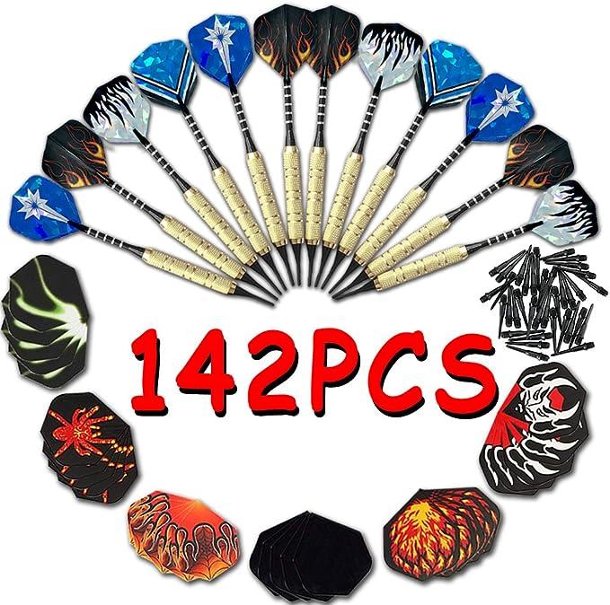 Dardos 142 Piezas (pack de 12 dardos, 100 suave puntas, 30 plumas) VOOA: Amazon.es: Deportes y aire libre