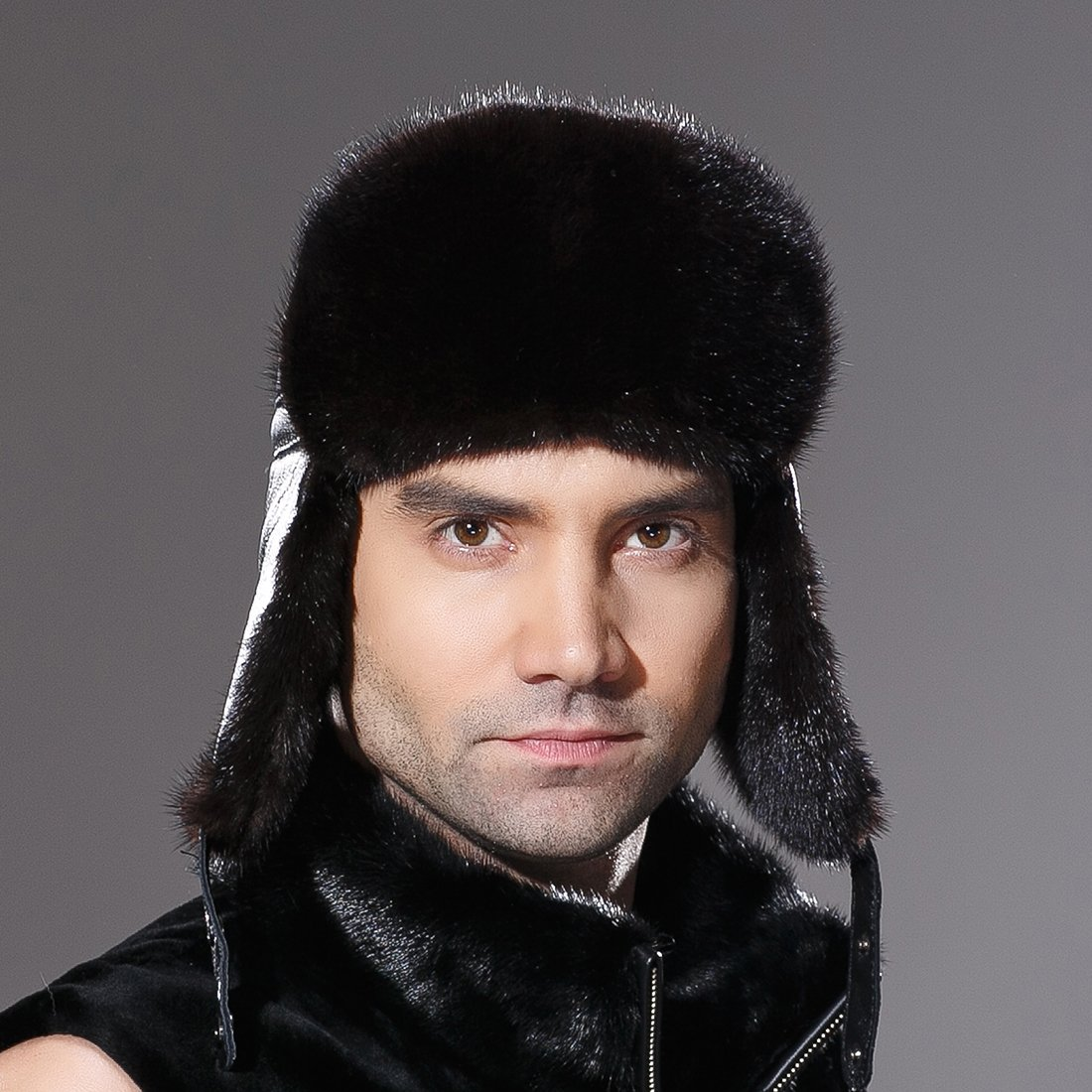 URSFUR Winter Leather Men Fur Hat Real Mink Fur Russian Trapper Hats Black by URSFUR (Image #3)