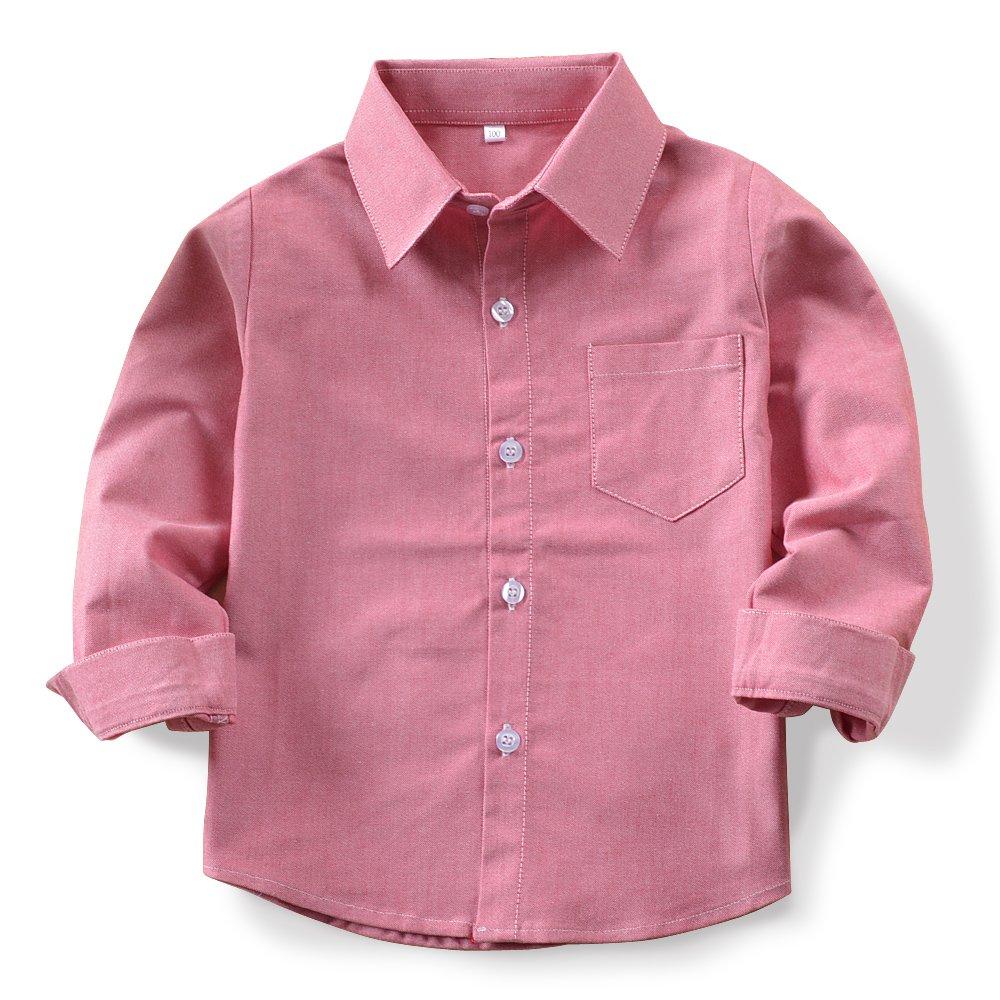 OCHENTA Boys' Long Sleeve Button Down Oxford Shirt, Little Big Kids Dress Tops