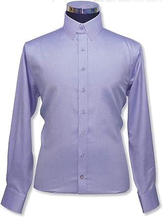 WhitePilotShirts 100-04 - Camisa para hombre con cuello de pestaña 100% lila con cuello de lazo de diamante, manga larga, puño individual para hombre Morado Lila 15.5: Amazon.es: Ropa y accesorios