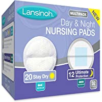 Lansinoh Nursing Pads Day & Night Multipack, 32 Count (20 Stay Dry Pads & 12 Ultimate Protection) Disposable Breast Pads
