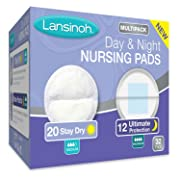 Lansinoh Nursing Pads Day & Night Multipack, Pack of 32 (20 Stay Dry Pads & 12 Ultimate Protection) Disposable Breast Pads