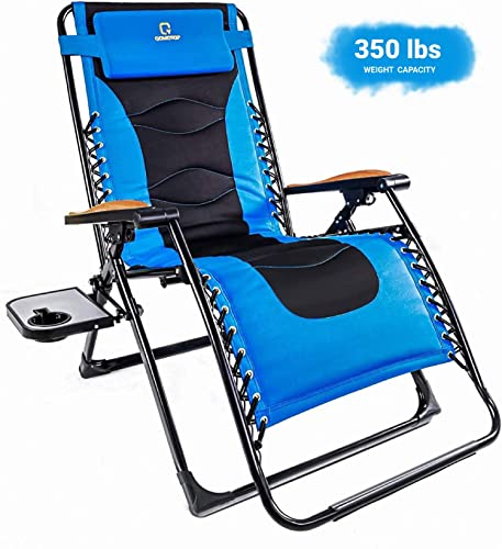 OT QOMOTOP Zero Gravity Lounge Chair, Oversize XL Padded Adjustable Recliner Folding Lawn Chair for Deck Patio Pool Beach with Cup Holder and Headrest Support 350 lbs