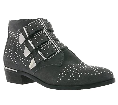 Bronx Echtleder Stiefel Moderne Damen Stiefelette mit Schnallen und Nieten Boots Schuhe Dunkelgrau