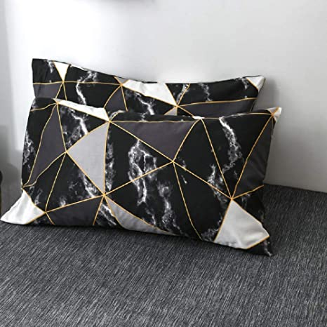 2x Marble Square Pillow Case Skin-friendly Throw Pillow Case 18x18inch Decor