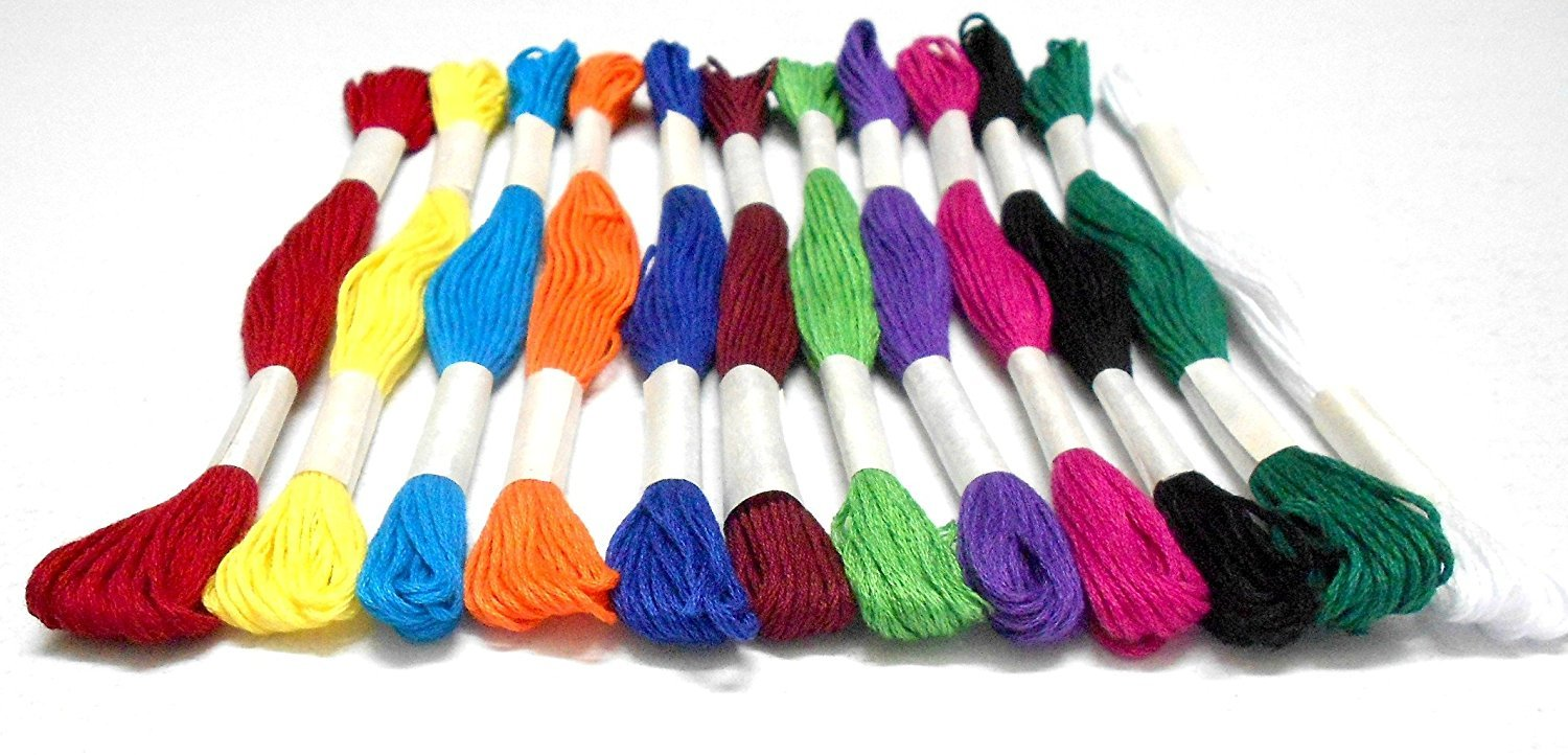 Goelx Skein Embroidery Thread Floss// Jewelry Making Craft Thread Pack Of 25 Skeins White