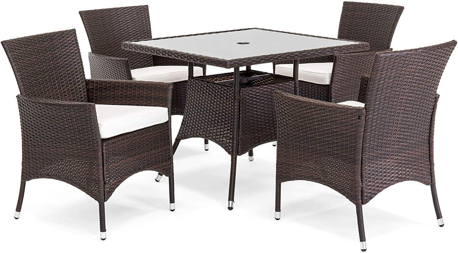 OAKVILLE FURNITURE 61205 5-Piece Patio Set Square Glass Top Dining Table with Standard Umbrella Hole 4 Outdoor Chairs, Brown Wicker, Beige Cushion: Garden & Outdoor