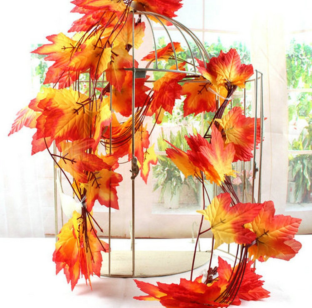 YEJI 12pcs 88 Inch Artificial Ivy Red Maple Leaf Leaves Garland Plants Vine Fake Foliage Flower Home Garden Decorations or decorating home, hotel, wedding, party, garden, fences, etc. by YEJI (Image #2)