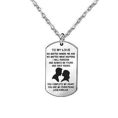 8a7fb0436af5 Regalo de aniversario para parejas - Cadena de plata collares regalo para  marido esposa novio novia novia  Amazon.es  Joyería