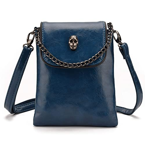 7506f52bfa53 Jiaruo Women Girls Studded Skull Gothic Crossbody Shoulder Bag Travel  Leather Handbag Cellphone Purse (Blue