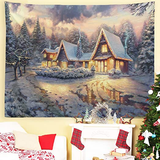 Baccessor Christmas Tapestries Wall Hanging,Winter Snow Classic Scene Tapestry Oil Painting,Christmas Decor for Living Room, Bedroom, Dorm Room – 90 W x 71 L 230cmx180cm – Snow Night Town