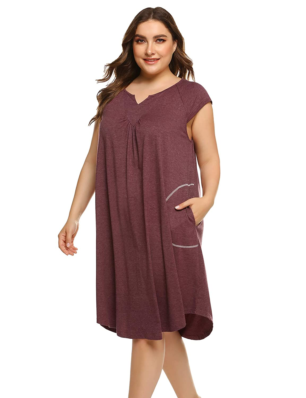 INVOLAND Womens Plus Size Nightgown Short Sleeve Sleepwear V-Neck Nightshirt with Pockets 16-24