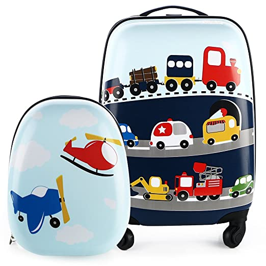 "Kids Luggage & Backpack Set - iPlay, iLearn 16"" Carry On Luggage with Spinner Wheels and 12"" Backpacks Set for 2, 3, 4 year olds + Little Kids, Toddlers, Teenage, Boys and Girls (Cars & Helicopter)"