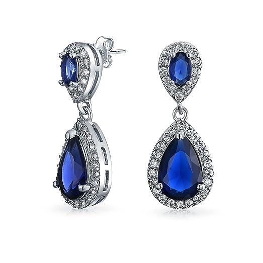 Bling Jewelry Pave Teardrop Simulated Sapphire CZ Bridal Chandelier Earrings Rhodium Plated Brass k704jUfw