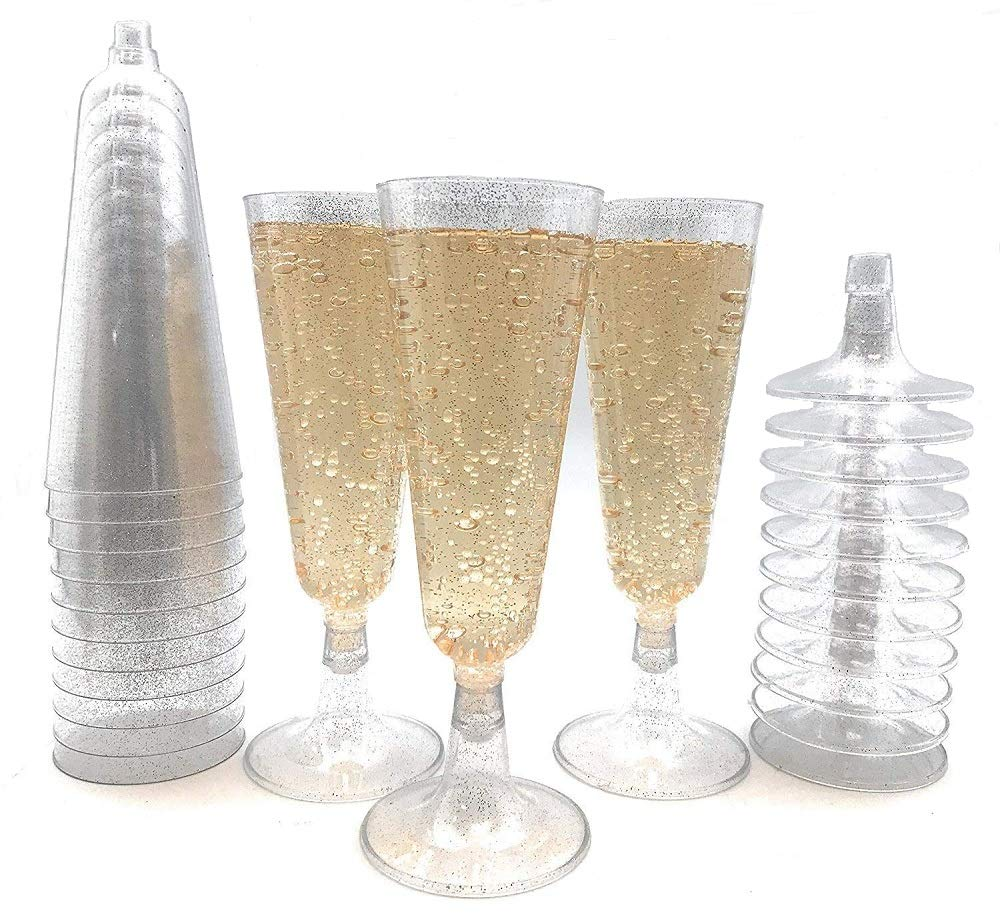 70pc Silver Glitter Plastic Classicware Glass Like Champagne Wedding Parties Toasting Flutes Party Cocktail Cups by Oojami