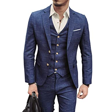 Musnow Mens Suits Gentleman Slim Fit 3 Pieces Work Business ...