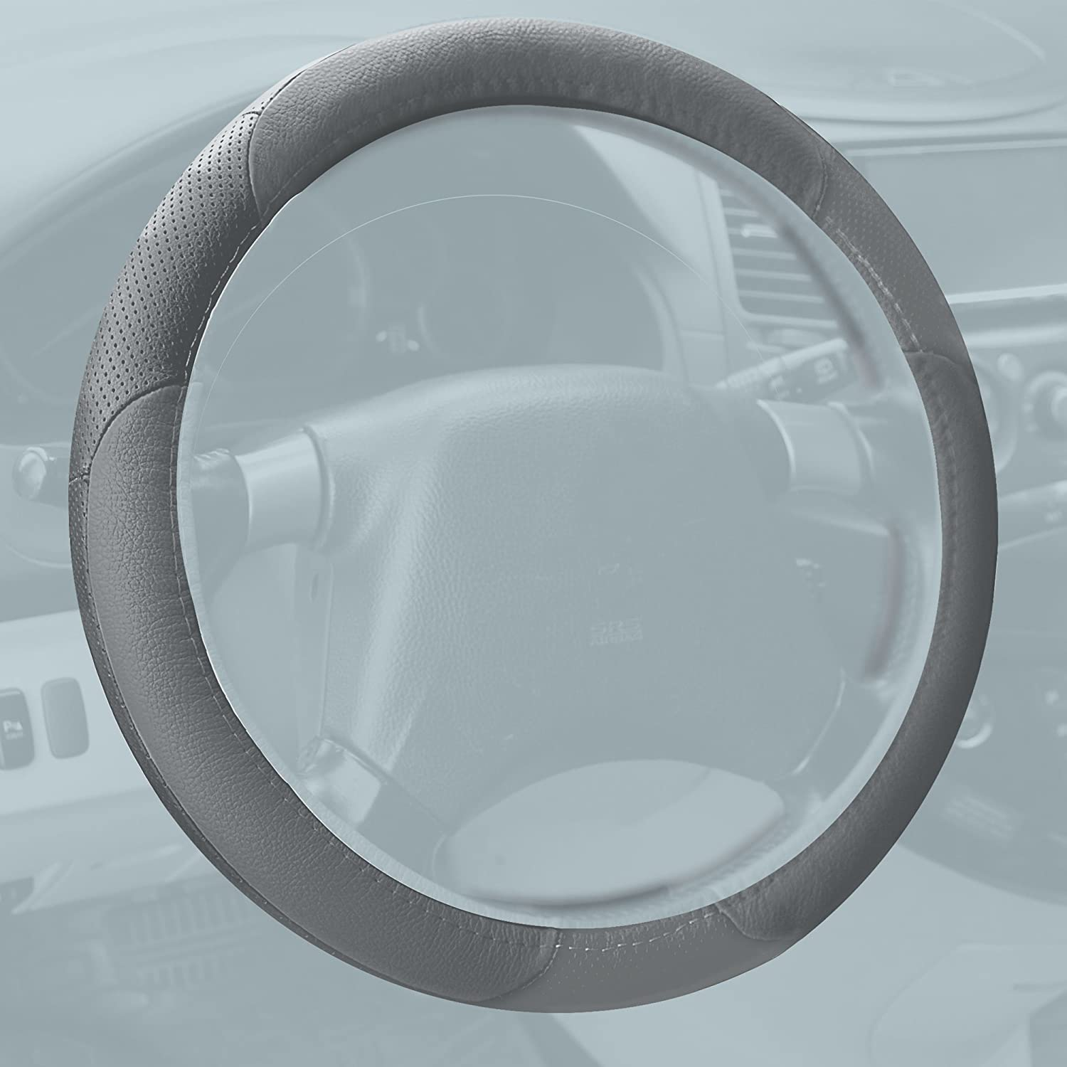 Perforated Genuine Leather Solid Beige FH Group FH2001SOLIDBEIGE Steering Wheel Cover