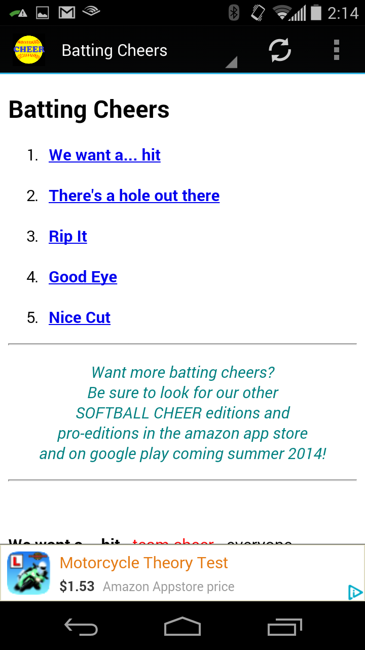 Truck Gps App >> Amazon.com: Softball Cheers 2014 Edition 1: Appstore for Android