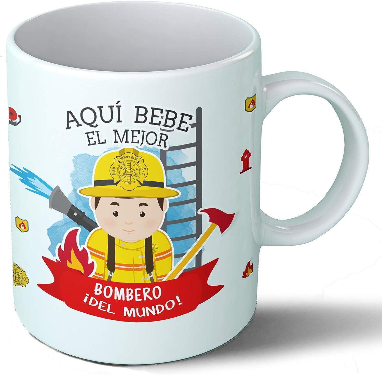 Planetacase Taza Desayuno Aquí Bebe el Mejor Bombero del Mundo Regalo Original Bomberos Ceramica 330 mL: Amazon.es ...