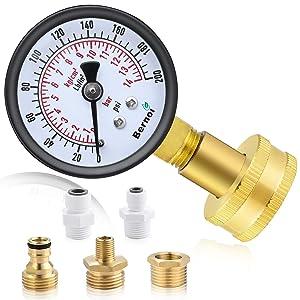 Water Pressure Gauge Kit,Universal Water Pressure Test Gauge with Lead-Free Brass Hose Fittings,3/4