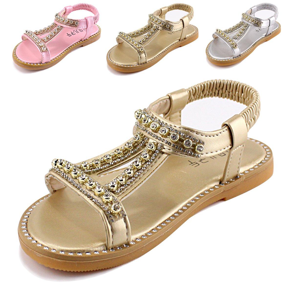 Evedaily Sandales Fille Enfant Bebe ete en Cuir Chaussures Confortable Mocassins Enfant