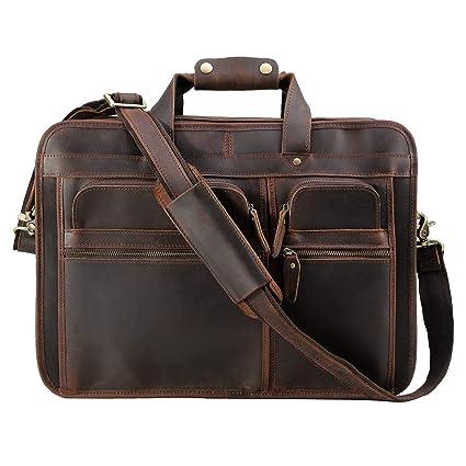 bea309844944 Men's Leather Briefcases Messenger Bag, Tiding 17