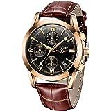 LIGE Mens Watch Leather Analog Quartz Wristwatch Men Date Business Dress Wristwatch Men's Casual Waterproof Sport Clock Black