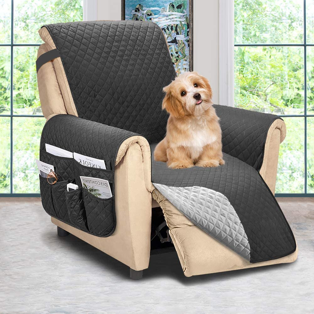 Reversible Recliner Chair Cover, Sofa Covers for Dogs,Sofa Slipcover,Couch Covers for 3 Cushion Couch,Couch Protector(Recliner Oversize:Dark Grey/Grey)