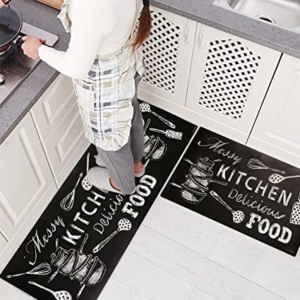 USTIDE 2 Pieces Creative Non-Slip Rubber Backing Kitchen Rug Set Black and  White Kitchen Rug Runner Area Rug Sets, 17.7\'\'×31.5\